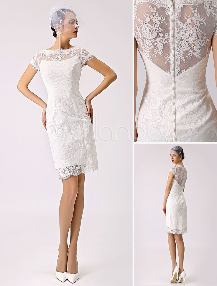 Illusion Boat Neck Short Sleeve Lace Short Reception Dress for Bride - Milanoo.com