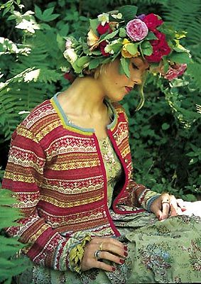 Oleana sweater, flowered green dress - so pretty