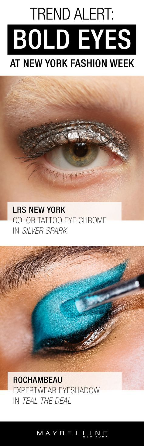 Trend Alert: Spotted this New York Fashion Week Season is Bold Eyes! From metallic silvers using Color Tattoo Eye Chrome to bright eyeshadow colors using Expert Wear Monos in teal this season was all about show stopping eye looks. Click through to view more beauty trends.