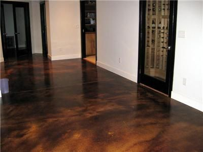 another stained and polished concrete basement floor