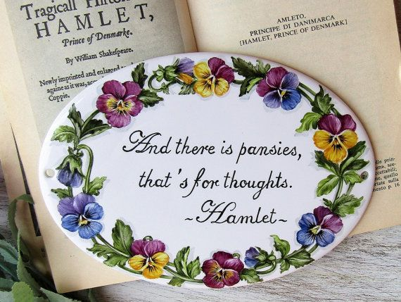 House sign with pansies and literary quote Hand by LaTavolozzaShop