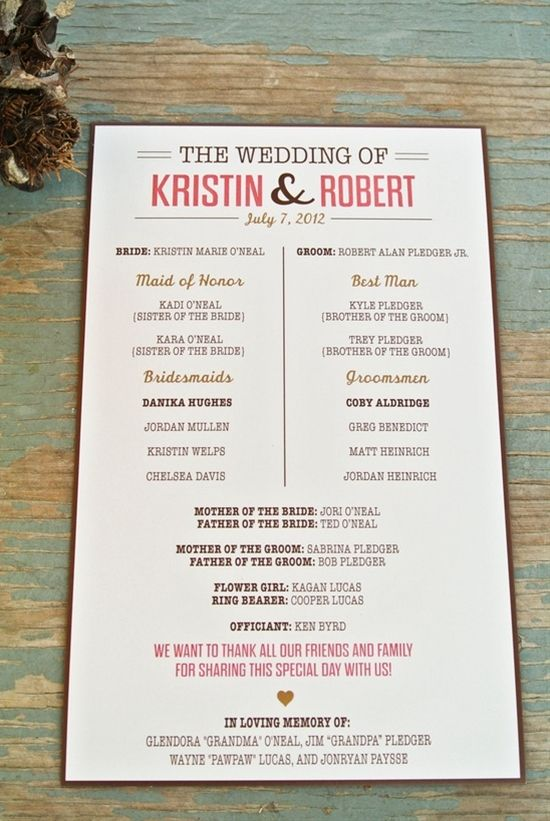 Simple and super cute wedding program!  This is a good idea.  Make it in purple.