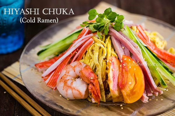 Hiyashi Chuka (Cold Ramen)-Tastes just as good without the meat :) Also when I was younger we used to always add a dollop of mayonnaise on top of the finished product and mix it in with the noodles and sauce. It sounds bizarre, but trust me it's delicious!