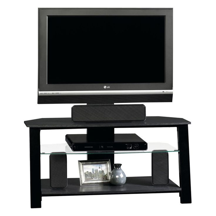 37.56 W Sauder Beginnings Panel TV Stand with Mount - Black | from hayneedle.com
