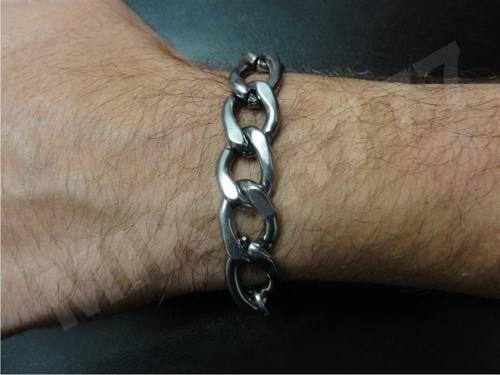 Pulseira/bracelete Masculina 10mm Aço Inox 316l Fígaro 3x1