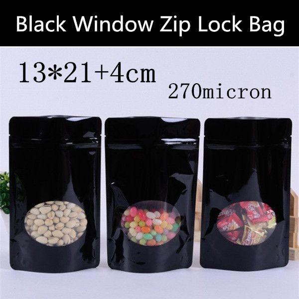 Wholesale 100pcs 13*21cm+4cm 270mic Glossy Black Plastic Window Bag Stand Up Zip Lock Bag Plastic Gift Bag