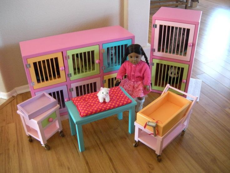 Are you looking for a unique handcrafted item for your American Girl® dogs and cats? Paynes Street Doll Boutiquehas just the thing you need – a completeveterinaryand grooming center for your dogs, cats, even bunnies!   You can choice from a 6 pet cubical in a variety of bright colors, a medical cart, and …