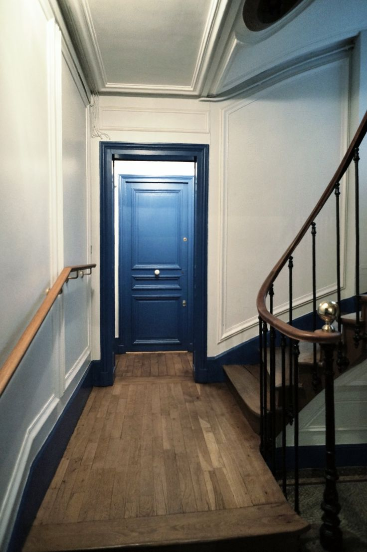 Building Hallway Blue Door Paris Paris Apartment Pinterest