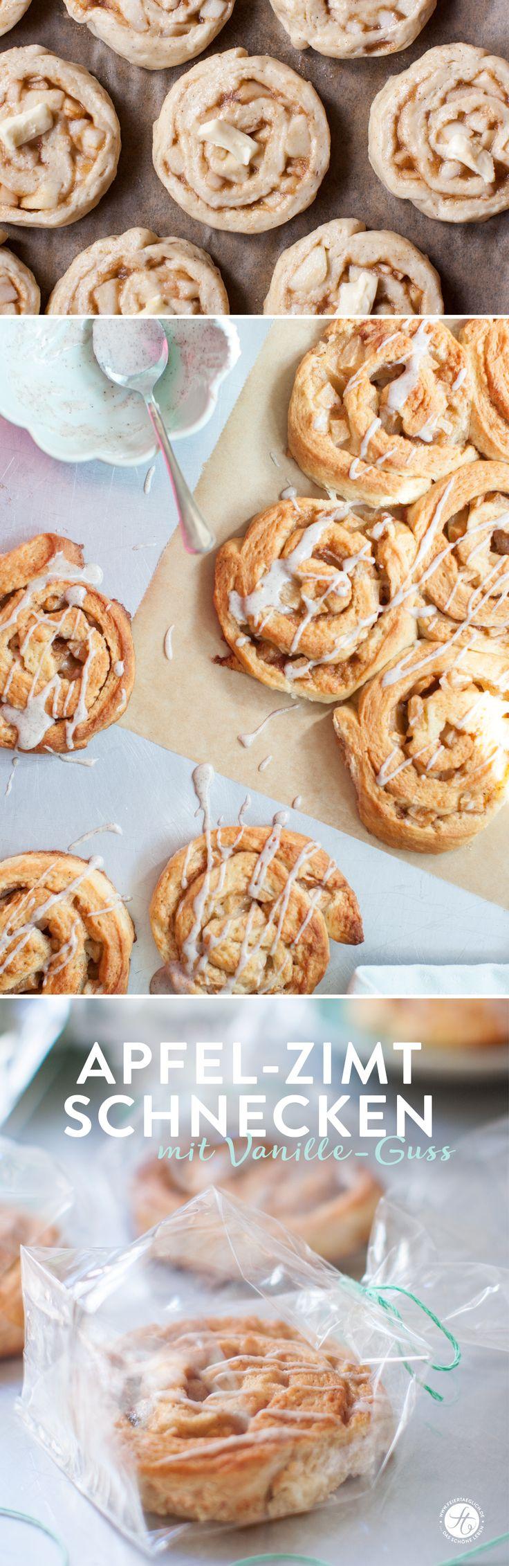 Apfel-Zimt-Schnecken mit Vanille-Guss, ein Rezept für knusprige und zugleich…