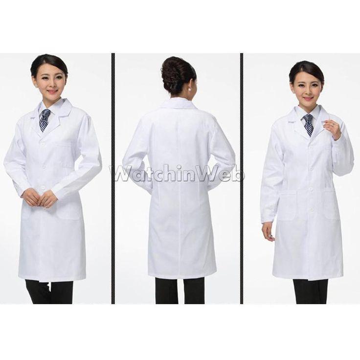 Women Lab Coat Scrubs Medical Nurse Doctor White Coat Hospital Uniform S-2XL #MagiDeal