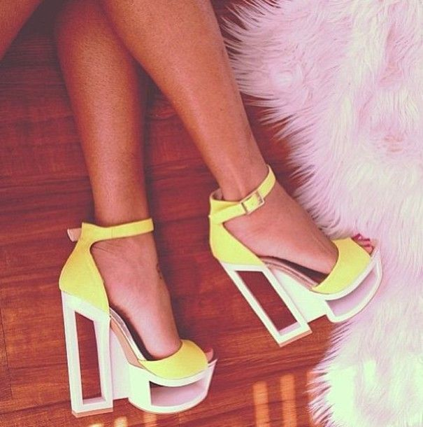 shoes heels yellow neon neon yellow heels cute high heels high heels lovely
