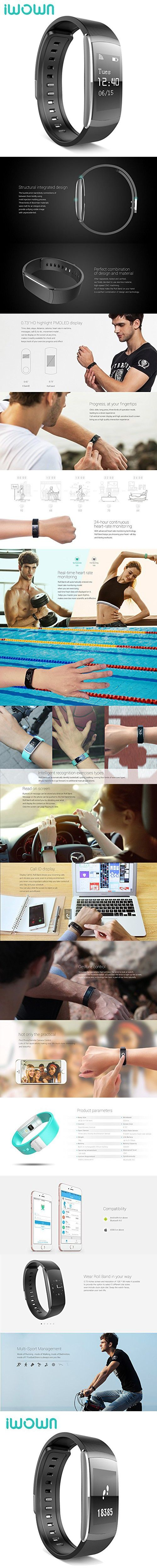 IWOWNFIT I6 PRO Smart Wristband Fitness Tracker Heart Rate Monitor IP67 Waterproof Bluetooth Smart Band Bracelet for Android IOS (Black)