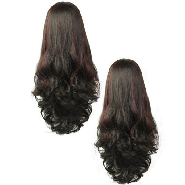 Wholesale Graceful Fluffy Wavy Capless Trendy Wine Red Highlight Synthetic Long Half Wig For Women Only $6.91 Drop Shipping | TrendsGal.com