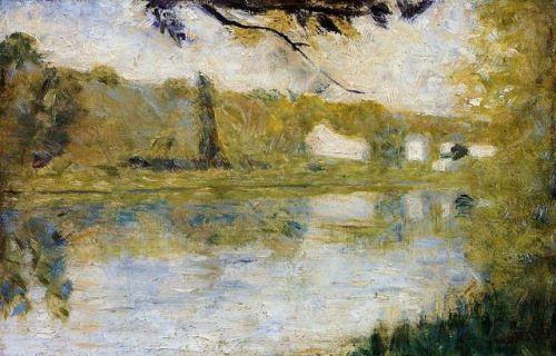 impressionism-art-blog: The Riverside via Georges SeuratMedium:...