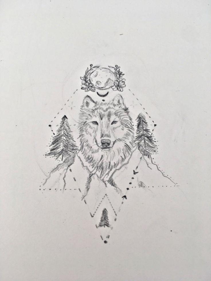 dessin tatouage loup tattoo wolf drawings wolf. Black Bedroom Furniture Sets. Home Design Ideas
