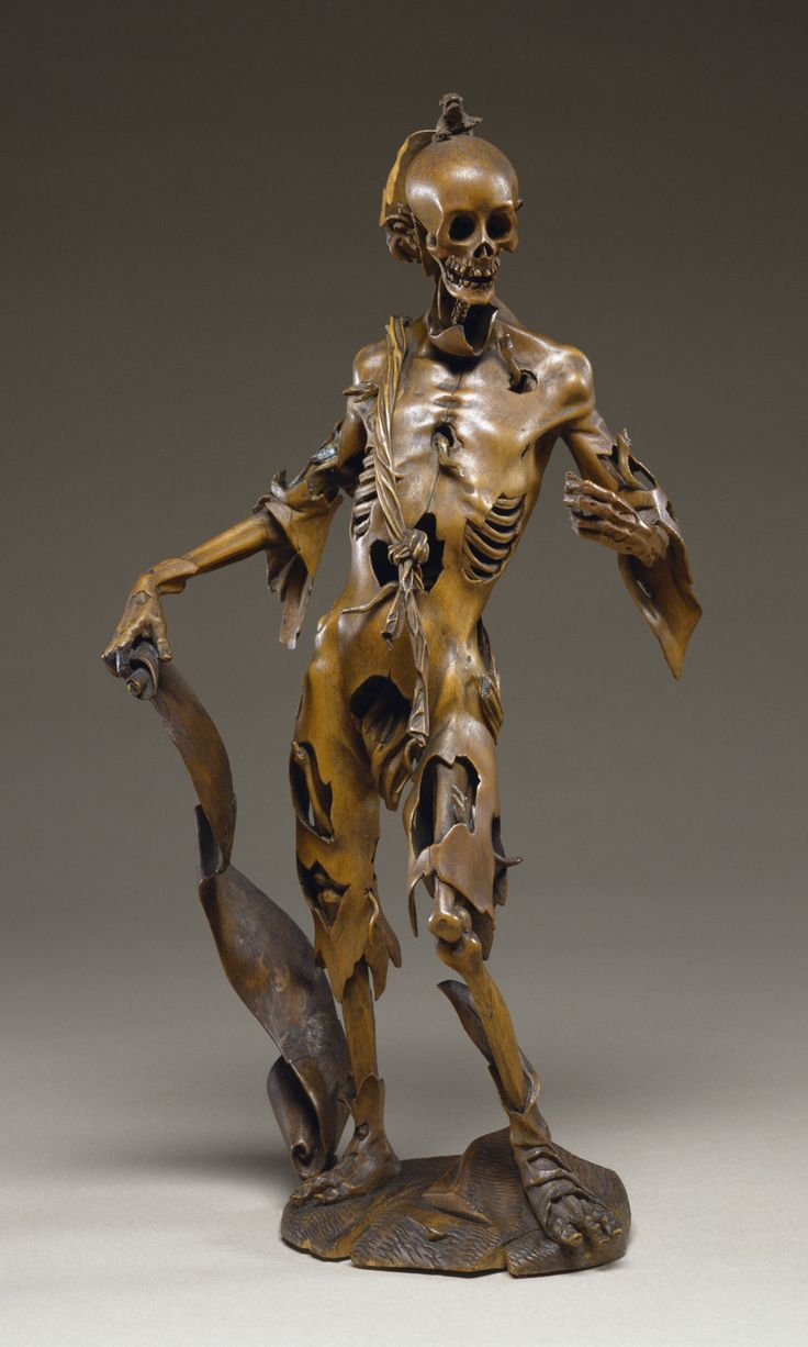 "Figure of Death (Memento Mori), made in Germany, c.1530-1630 (via).  The scroll has an inscription reading ""I am what you will be. I was what you are. For every man is this so."" 280.jpg (768×1280)"