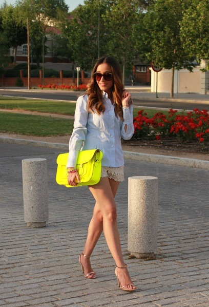 scalloped nude shorts, neon yellow bag.