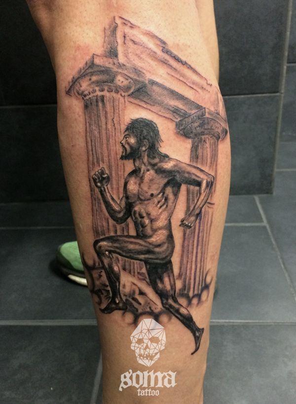 Ancient greek runner realistic tattoo