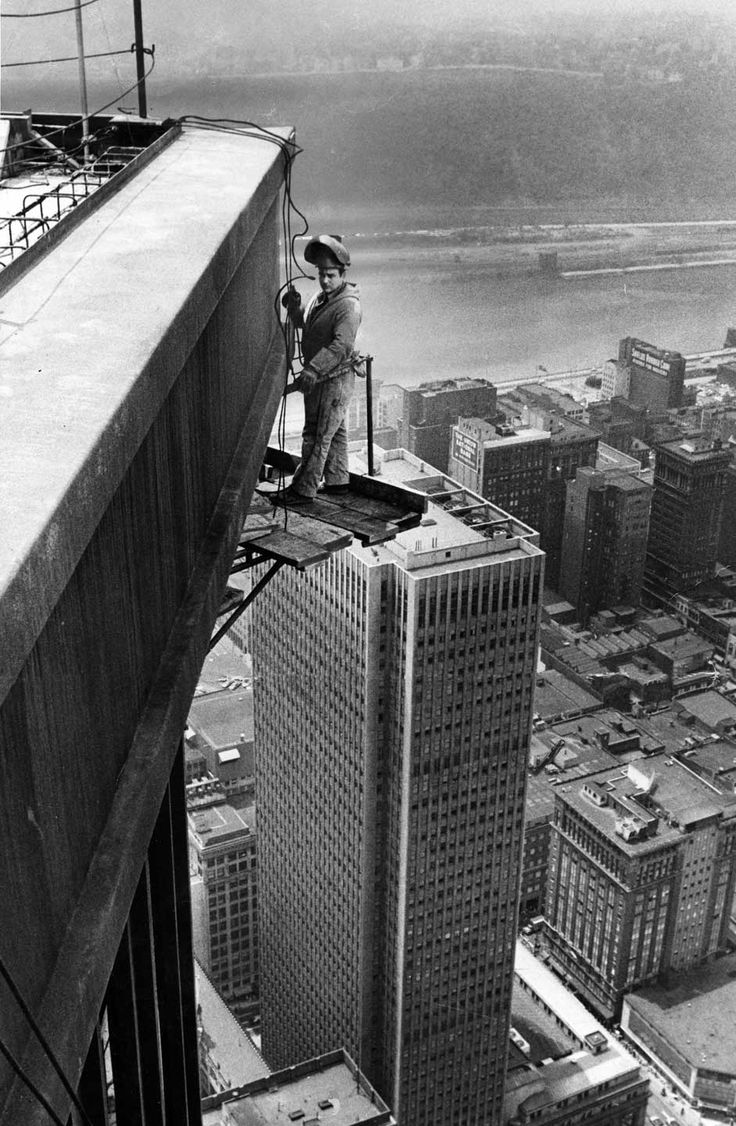 U.S.Steel Tower - A welder works on the top corner of the tower on June 14, 1970.