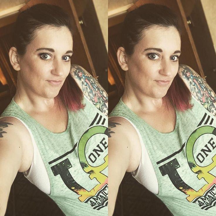 Favorite tank from Jamaica  and a stupid grin! #selfie #randomness #tattoed #tattedgirls #pinkhairdontcare