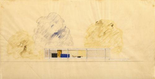 The Farnsworth House sketch, by Mies van der Rohe