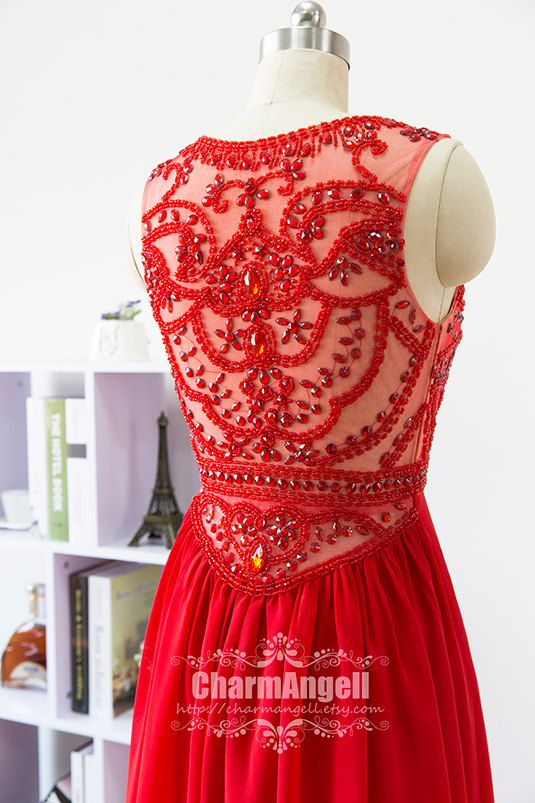 Robe de bal rouge robe formelle longueur au sol par CharmAngell
