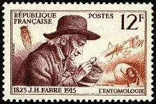 Jean-Henri Fabre 1825-1915 L´entomologie Deuxième série des savants et inventeurs - Timbre de 1956
