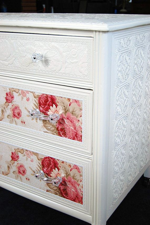 Use wallpaper to vamp up a plain dresser.: Paintings Furniture, Embossing Wallpapers, Cute Ideas, Texture Wallpapers, Cottages Chic, Wallpapers Ideas, Wallpapers Dressers, Chic Dressers, Texture Wall Paper