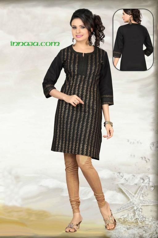 Czarna bawełniana tunika z złote ozdoby r. XL, S