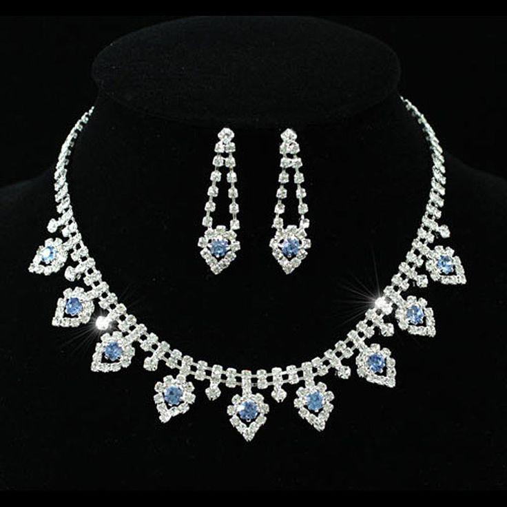 Люкс свадебное ну вечеринку голубой кристалл люкс свадебное ожерелье серьги CS1154