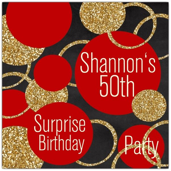 Red And Gold Glitter Birthday Party Invites