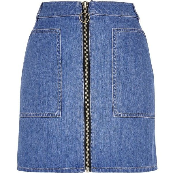 River Island Blue denim zip-up skirt ($43) ❤ liked on Polyvore featuring skirts, blue, denim skirts, women, pocket skirt, river island, denim skirt, blue skirt and zip up skirt