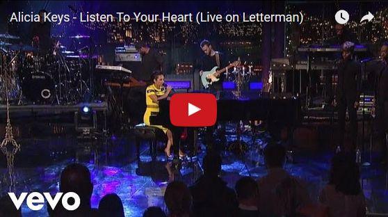 Watch: Alicia Keys - Listen To Your Heart (Live on Letterman) See lyrics here: http://aliciakeyslyric.blogspot.com/2017/03/listen-to-your-heart-lyrics-alicia-keys.html #lyricsdome
