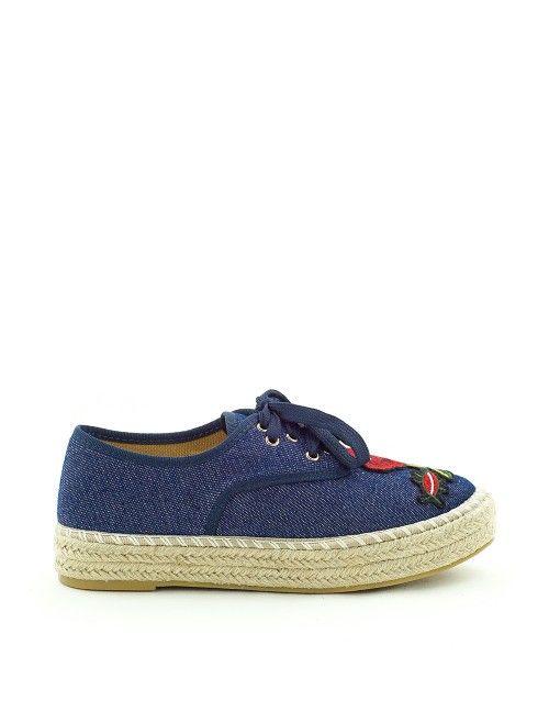 Sneaker jean με κέντημα και ψάθα - Μπλε 49,99 €