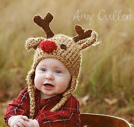 SALE - Save 15% -Baby Hat - Reindeer Hat - Baby Reindeer Hat - newborn  Cute and Soft Earflap - by JoJosBootique