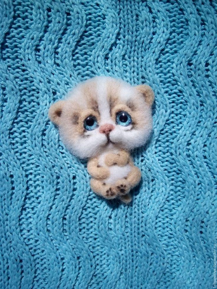 Купить Брошь валяная Рыжий котенок (шерсть) - рыжий, белый, котенок, котик, брошь котенок
