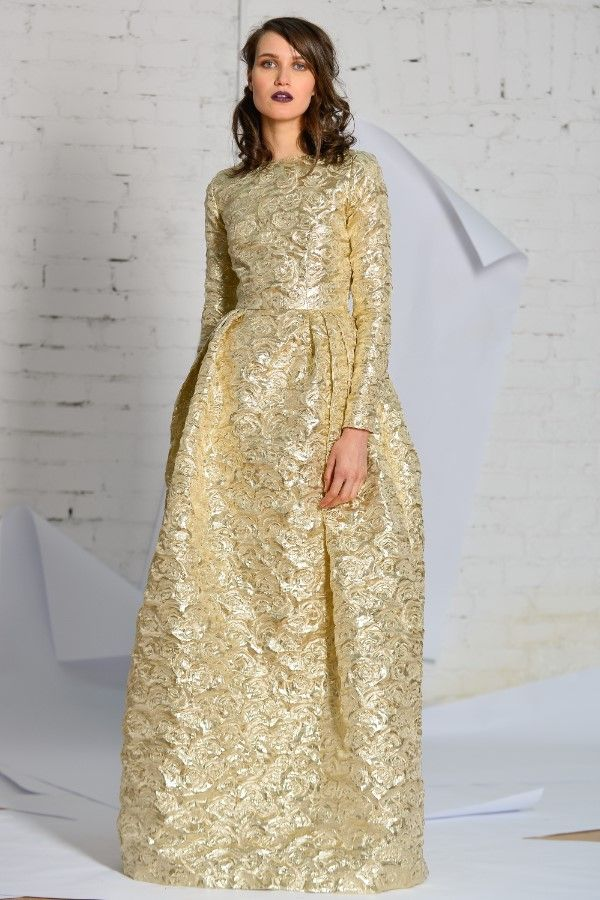 evening golden brocade dress