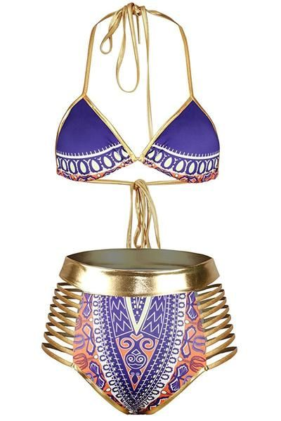 Purple African Tribal Metallic Cutout Halter High Waist Swimsuit, Shop for cheap Purple African Halter High Waist Swimsuit online? Buy at ModeShe.com on sale!