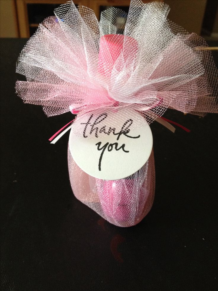 Baby shower favors- mini nail polish remover, nail polish and an emery board war apples in tulle