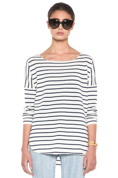 Vince Striped Shirt Tail Sweater