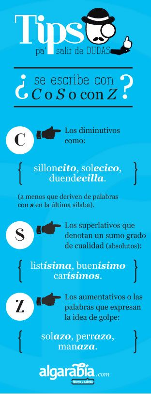 Spanish writing skills: spelling diminutives. ¿Se escribe con C, S o Z?