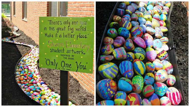 """There's only one you in this great big world. Make it a better place."" ... This colorful schoolwide art project has a powerful message  An elementary school in Indiana combined creativity and literature to create a beautiful piece of art that will encourage students for years to come to be true to themselves. Students grades K-5 at Sharon elementary school in Newburgh, IN painted rocks inspired by the book Only One You, by Linda Kranz to create a colorful stone lined path outside the school…"