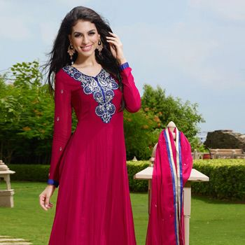 Pink Pure Georgette Anarkali Churidar Kameez
