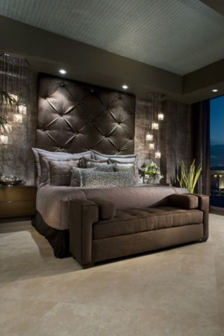 Tall tufted headboard bedrooms pinterest bedrooms for Master bedroom interior design ideas