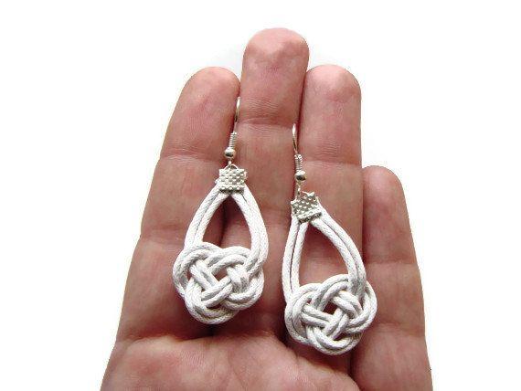 White Earrings Knot Earrings Nautical Earrings Sailor by BohoM