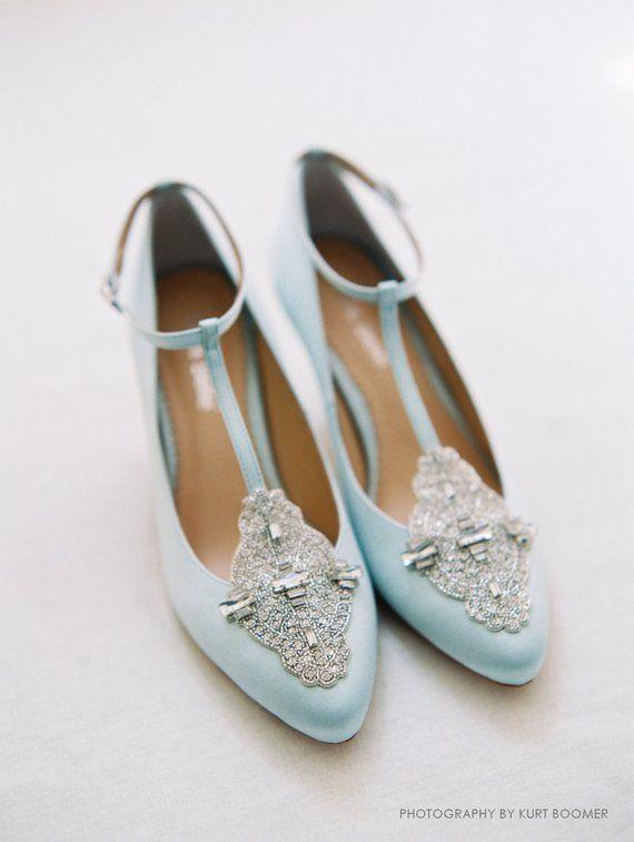 Art Deco Something Blue Wedding Shoes Great Gatsby Crystal Etsy In 2021 Art Deco Wedding Shoes Wedding Shoes Heels Kitten Heel Wedding Shoes