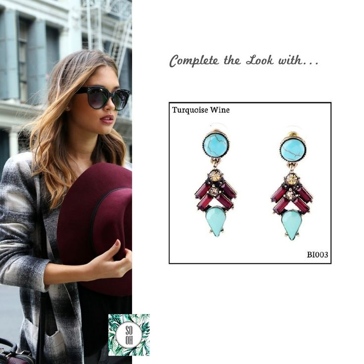 Ref: BI003 Turquoise Wine Medidas: 4.6 cm x 1.8 cm So Oh: 7.99 🌱#sooh_store #onlinestore #style #inspiration #styleinspiration #brincos #earrings #fashion #shoponline #aw2016 #aw1617 #winterstyle