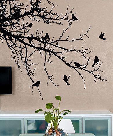 Vinyl Wall Decal Sticker Birds' Tree Branch #1002