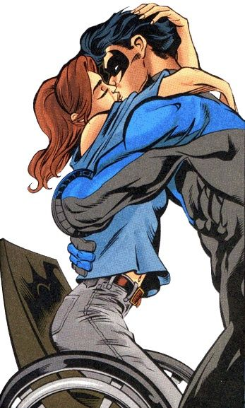 Barbara Gordon and Dick Grayson, aka Oracle and Nightwing (http://www.heartlessdoll.com/2010/02/hey_thats_my_cape_batlove.php)