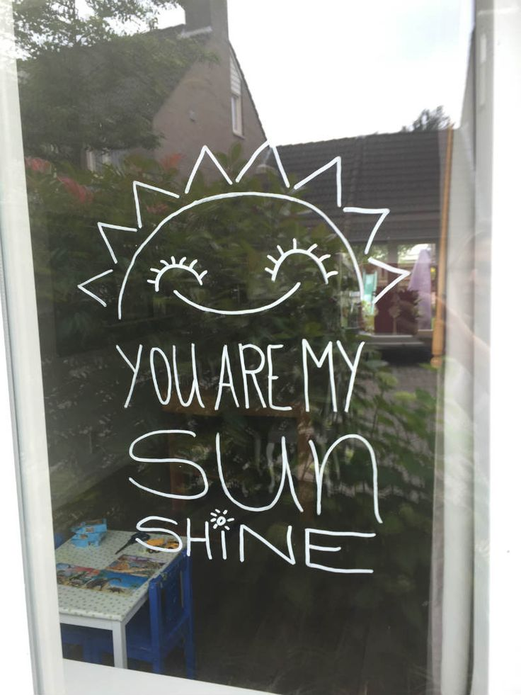 Krijtstift tekening – Zon quote: you are my sunshine
